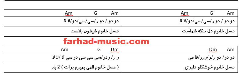 نت فارسی عسل خانوم حمید اصغری