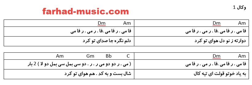 نت فارسی دل هوای تو کرد محلی بختیاری