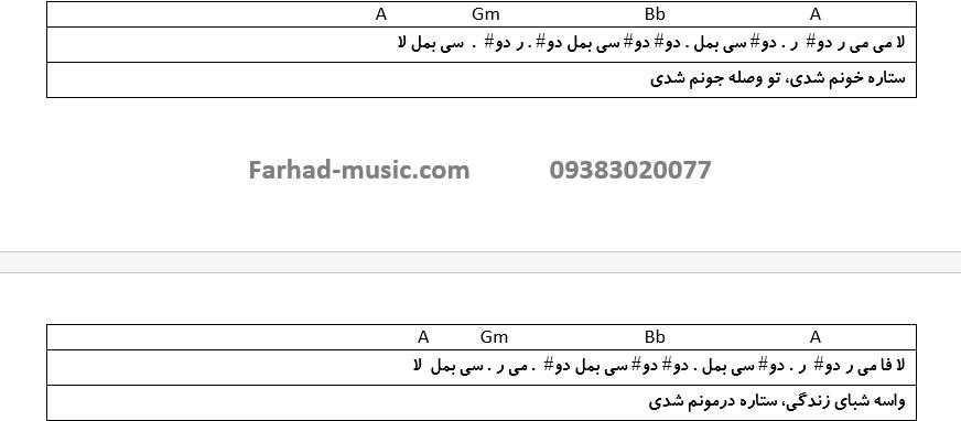 نت فارسی ستاره خونم شدی معین